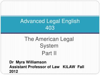 Advanced Legal English 403
