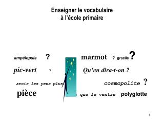 Enseigner le vocabulaire   l  cole primaire
