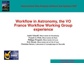 Workflow in Astronomy, the VO France Workflow Working Group experience