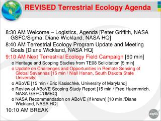 REVISED Terrestrial Ecology Agenda