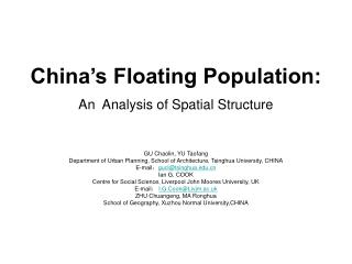 China s Floating Population: An  Analysis of Spatial Structure