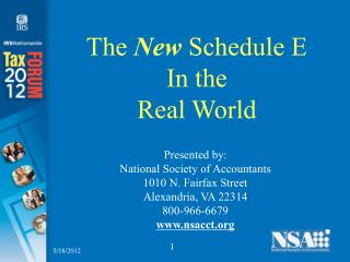 The New Schedule E In the  Real World