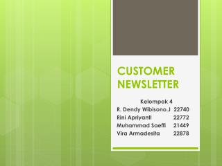 CUSTOMER NEWSLETTER