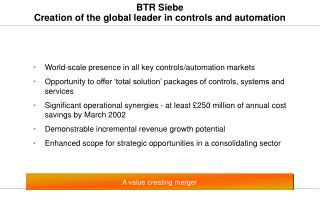BTR Siebe Creation of the global leader in controls and automation