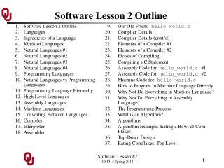 Software Lesson 2 Outline