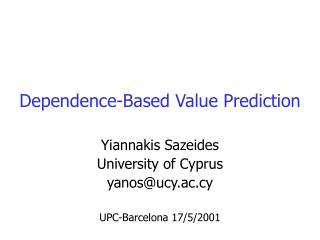 Dependence-Based Value Prediction