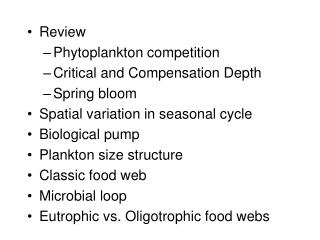 Review Phytoplankton competition  Critical and Compensation Depth Spring bloom Spatial variation in seasonal cycle Biolo