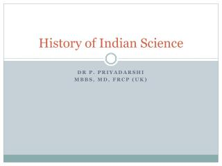 History of Indian Science