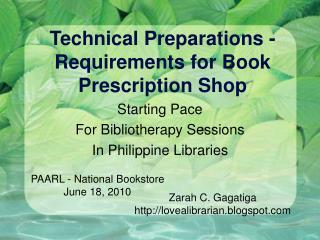 Technical Preparations -Requirements for Book Prescription Shop