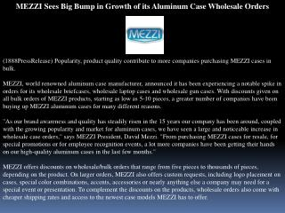 MEZZI Sees Big Bump in Growth of its Aluminum Case Wholesale
