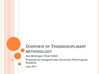 Overview of Transdisciplinary methodology