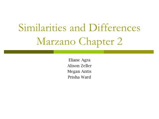 Similarities and Differences Marzano Chapter 2