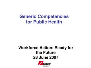 Generic Competencies  for Public Health