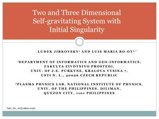Two and Three Dimensional  Self-gravitating System with  Initial Singularity