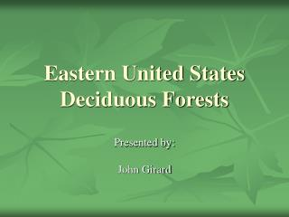 Eastern United States Deciduous Forests