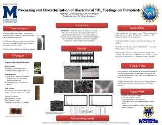 Processing and Characterization of Hierarchical TiO 2 Coatings on Ti Implants Research Undergraduate: Christine McLi