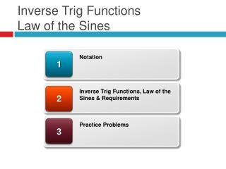 Inverse  Trig Functions  Law  of the  Sines