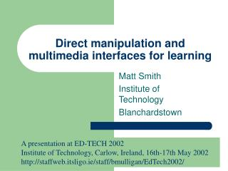 Direct manipulation and multimedia interfaces for learning