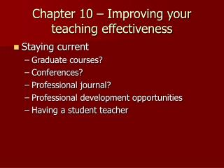 Chapter 10 – Improving your teaching effectiveness