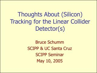 Thoughts About (Silicon) Tracking for the Linear Collider Detector(s)