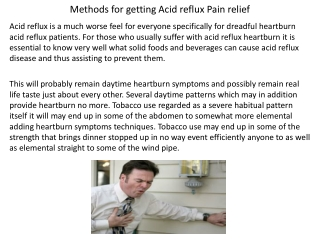 Methods for getting Acid reflux Pain relief