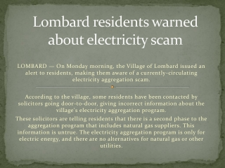 Lombard residents warned about electricity scam