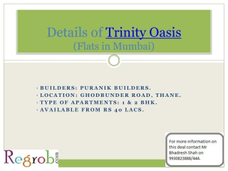 Trinity Oasis offers 1 & 2 BHK Flats in Thane from Rs 40 Lac
