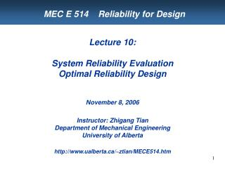 MEC E 514    Reliability for Design