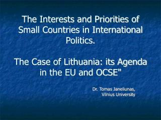 The Interests and Priorities of Small Countries in International Politics. The Case of Lithuania: its Agenda in the EU a