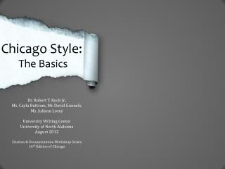 Chicago Style:  The Basics
