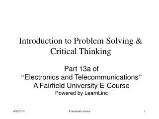 Introduction to Problem Solving  Critical Thinking
