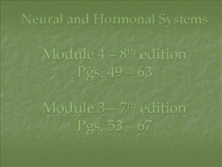 Neural and Hormonal Systems  Module 4   8th edition              Pgs. 49   63  Module 3   7th edition Pgs. 53   67