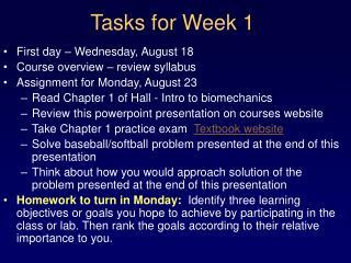 Tasks for Week 1