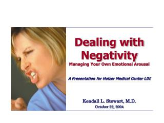 Dealing with Negativity Managing Your Own Emotional Arousal   A Presentation for Holzer Medical Center LDI