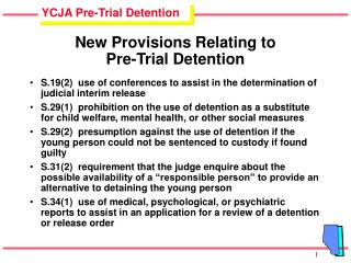 New Provisions Relating to  Pre-Trial Detention