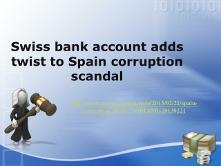 Swiss bank account adds twist to Spain corruption scandal