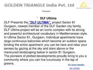 Dlf Ultima New Project |9560505862| Sector 81 Gurgaon