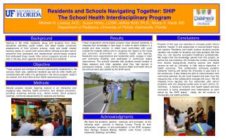 Residents and Schools Navigating Together: SHIP        The School Health Interdisciplinary Program  Michele N. Lossius,