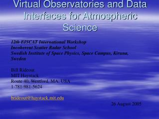 Virtual Observatories and Data Interfaces for Atmospheric Science