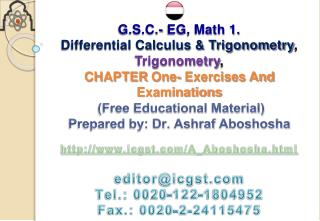 G.S.C.- EG, Math 1.  Differential Calculus  Trigonometry,  Trigonometry,  CHAPTER One- Exercises And Examinations  Free