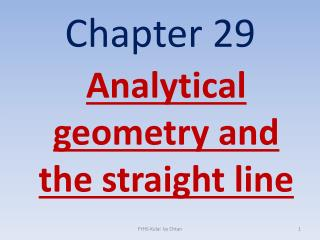 Analytical geometry and the straight line