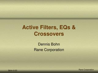 Active Filters, EQs & Crossovers