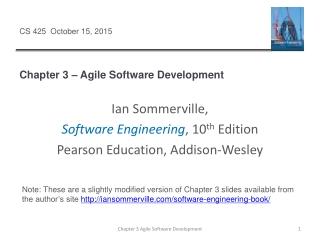Chapter 3 – Agile Software Development