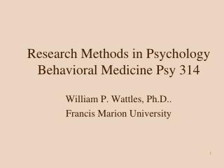 Research Methods in Psychology Behavioral Medicine Psy 314