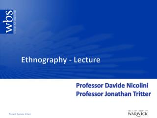 Ethnography - Lecture