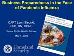 Business Preparedness in the Face  of Pandemic Influenza
