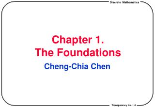 Chapter 1.  The Foundations