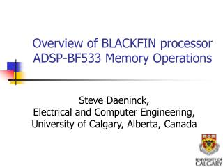 Overview of BLACKFIN processor ADSP-BF533 Memory Operations