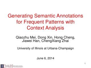 Generating Semantic Annotations for Frequent Patterns with Context Analysis