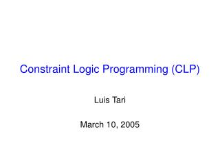 Constraint Logic Programming (CLP)
